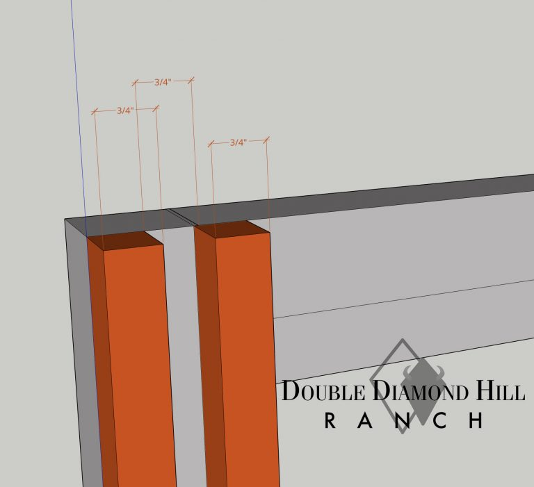 Leave a 3/4 inch gap so the Hutch wall panels can slide in